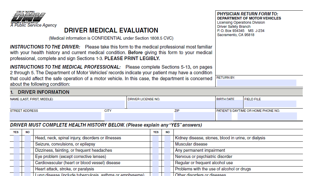 Notice of Driver Medical Evaluation Quality Defense Now – Medical Evaluation