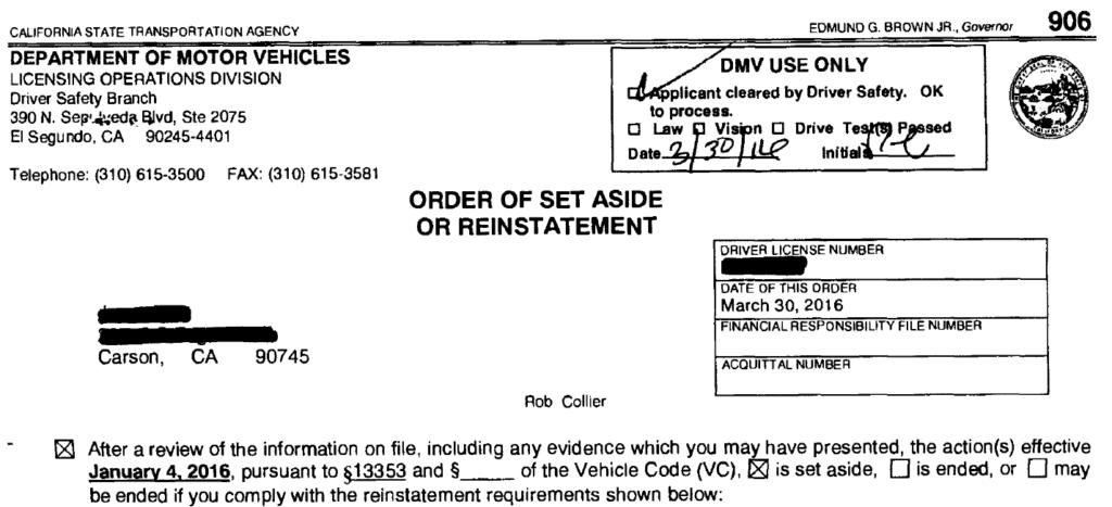 "DMV Victory - ""Refusal"" Hearing - El Segundo Driver Office"