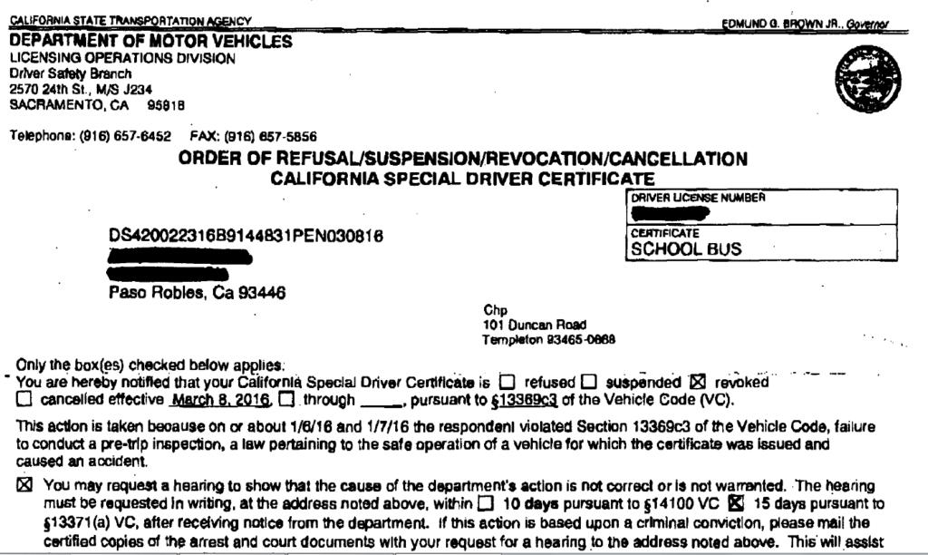 California Vehicle Code (CVC) Section 13369