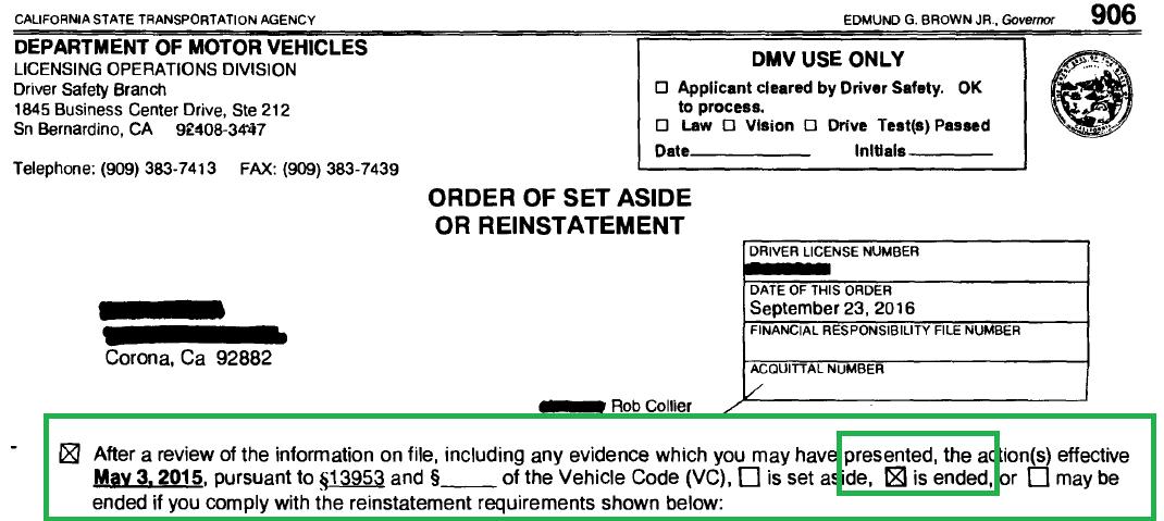 DMV Victory - Reinstatement Interview at San Bernardino DS